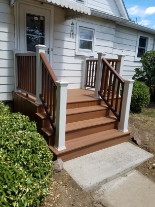 New porch, all composite materials, new concrete slab